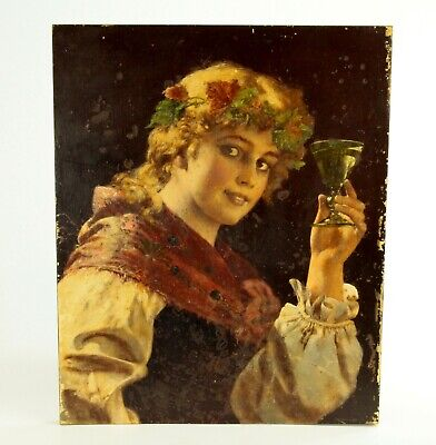 ~Antique 19th C. Oil on Board Woman with Wine Glass & Vine Leaves Wreath