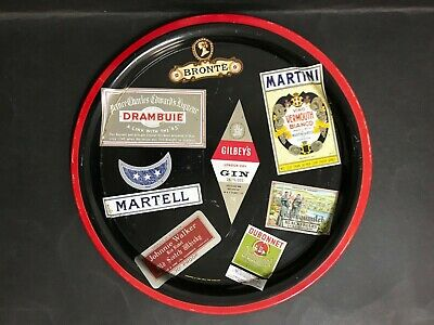 WHISKY TRAY VINTAGE 1950's VARIOUS LABELS MADE IN U.K