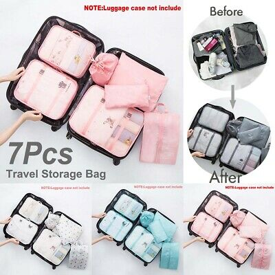 7Pcs Packing Cube Travel Pouch Luggage Organiser Clothes Suitcase Storage Bag AU