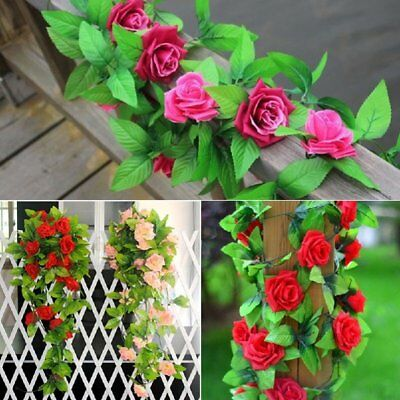 2X8Ft Artificial Rose Garland Silk Flower String Vine Ivy Wedding Garden Deco IB