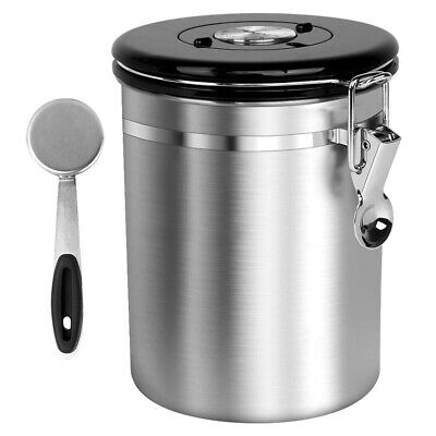 64floz Large Stainless Steel Coffee Bean Storage Container CO2 Valve,Free Scoop