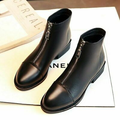 Womens Chelsea Boots Ladies Flat Ankle Boots Front Zip Design Casual Shoes Size