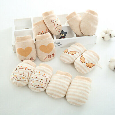 Cute Baby Infant Boys Girls Anti Scratch Mittens Soft Cotton Newborn Gloves UK