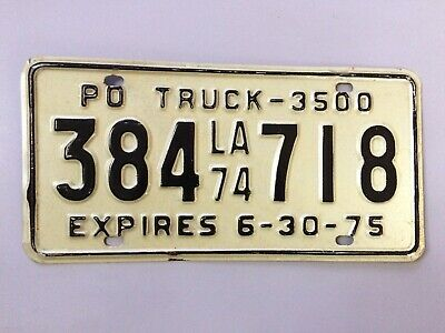 Vintage plaque d'immatriculation USA Licence truck plate Louisiana 1975