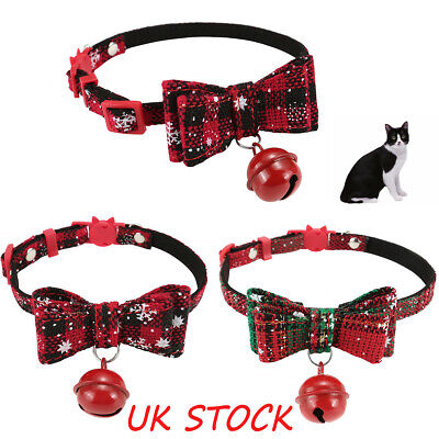 Safety Cat Dog Breakable Kitten Christmas Xmas Collars Bell Bowtie Red Neckband
