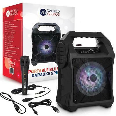 Bluetooth Karaoke Machine Party Portable Lights Mics LED Light Speaker Songs MP3