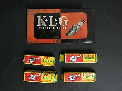 K.l.g Sparking Plugs Vintage Tin With 4 Bosch Spark Plugs & Boxes