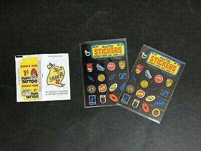 Trading Card Wax Wrapper Rare Pirate Tattoo Gum By Fleer & 2 Topps Auto Stickers