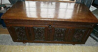 Large 18th Century Carved Oak Coffer