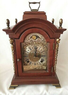 Warmink Mantel Clock Dutch 8 Day Key Wind Double Bell, Moon Dial Silent Option