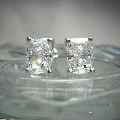 Certified 4.00 Ct Diamond Stud Earrings 14k White Gold Excellent Radiant Shape