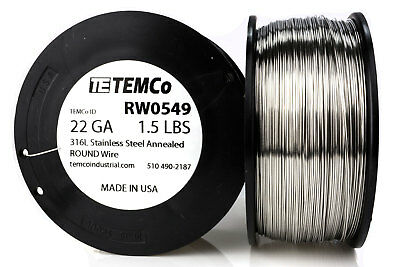 TEMCo Stainless Steel Wire SS 316L - 22 Gauge 1.5 lb Non-Resistance AWG ga