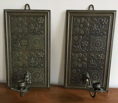 A Pair Of Antique Art Nouveau Brass Floral Wall Plaque Candlesticks Holders