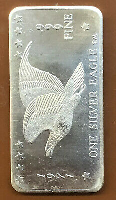 1972 WH Foster Inc Flying Eagle 1oz Silver Bar .999 fine Very Clean Ships Free
