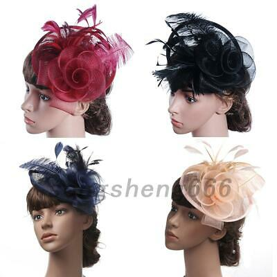 Large Feather Headband Aliceband Hat Fascinator Cap Clip for Wedding Party UK