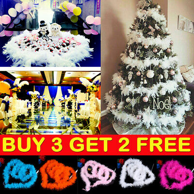 2M Christmas Tree White Red Feather Strip Xmas Ribbon Party Garland Fancy Decor-