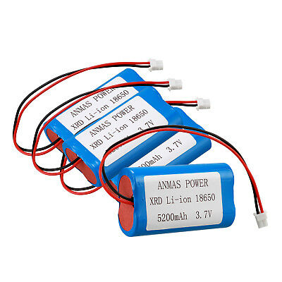 4x 3.7V 5200mAh XRD Li-Ion 18650 Rechargeable Battery Pack W / Cable For DIY