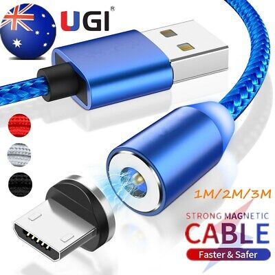 AU 360° Magnetic Micro USB Type-C Charger IOS Cable For Samsung S6 S7 S8 Android