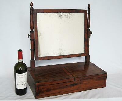 GEORGIAN ANTIQUE DRESSING TABLE MIRROR with JEWEL BOX & SECRET COMPARTMENT 1800