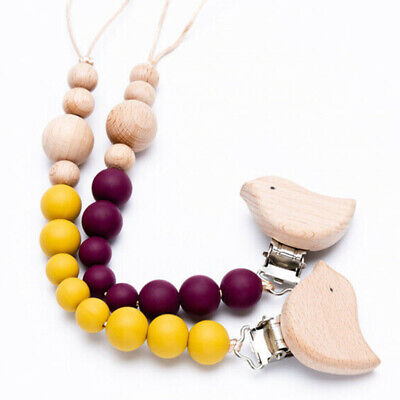 Round Silicone Beads Bird Wood Dummy Nipple Clips Baby Teething Pacifier Chain