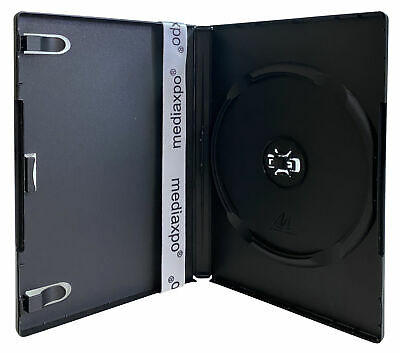 STANDARD Black Single DVD Cases 14MM /w Patented M-Lock Hub