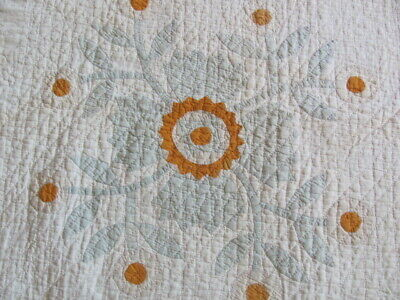 Antique cutter quilt ultra fancy applique with fine hand quilting large size