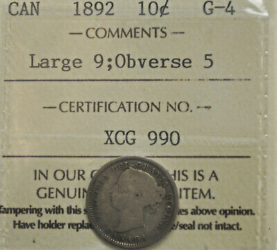 1892 Lrg.9, obv.2 Canada 10 cents ICCS G-4