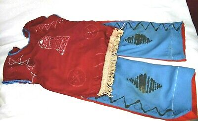 Vintage 1960's Children's Dress Up Outfit Native American Hand Made Top & Pants