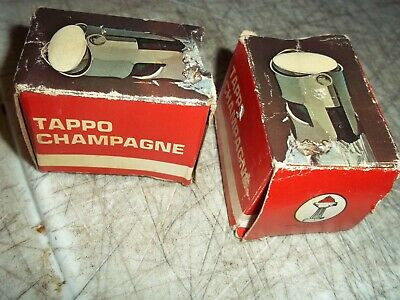 LOT OF 2 FGB TAPPO CHAMPAGNE STOPPERS CHROME ITALY MADE NOS NWD