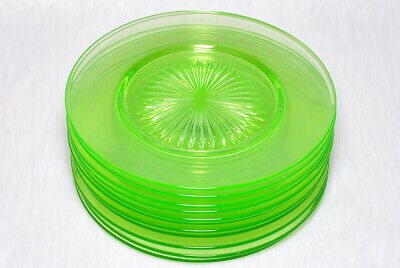 Vintage Collectible Lime Green Depression Glass Sunburst Pattern 11 Plates