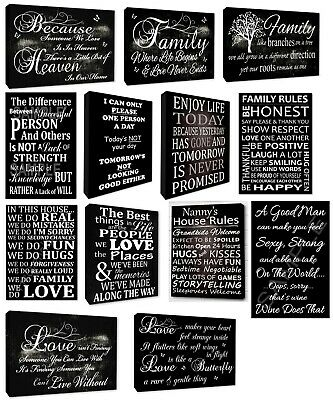 Variety of Family Wall Art Quotes & Love Quotes Picture Black Wall Canvas Prints