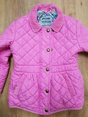 Joules pink quilted coat age 3 years - VGC!