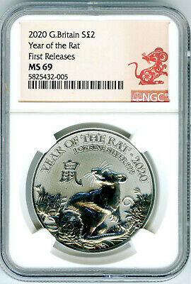 2020 Great Britain 1 Oz Silver 2Pd Ngc Ms69 Year Of The Rat First Releases