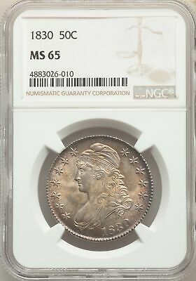 1830 US Silver 50C Capped Bust Half Dollar - NGC MS65