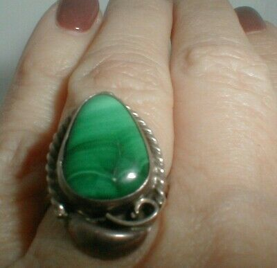 vintage SUNDANCE CATALOG ooak STERLING SILVER SOUTHWEST RING green malachite NR