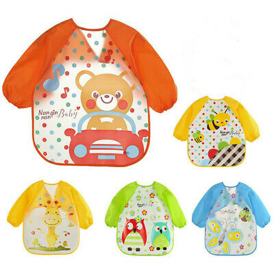 5 Pcs Baby Waterproof Sleeved Bib Apron Kids Smock for 1-3 Years Old Infants