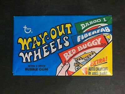 WAY-OUT WHEELS TRADING CARD FULL UNOPENED WAX PACK FROM 1970's
