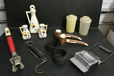 Kitchenalia Vintage Lot Of Items Inc: Salt & Pepper Shakers, Conainers & Others