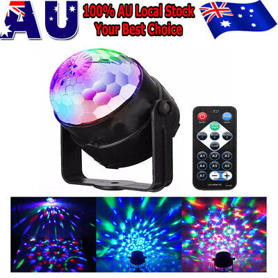 Sound Active RGB LED Disco Stage Light Crystal Ball Xmas Club DJ Party W/ Remote