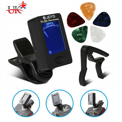 Digital Electronic Clip-On Guitar Tuner w/ LCD Display & Black Guitar Capo Sets