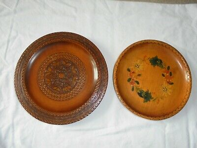 Vintage Turned Carved Wooden -TREEN - Austrian / Swiss Plates / dishes