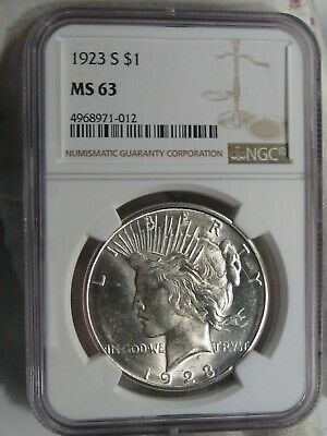 UNC 1923-s Silver Peace Dollar NGC MS 63.  #3