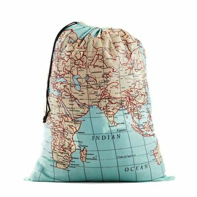 Kikkerland World Map Atlas Travel Laundry Bag Uni Clothes Wash Drawstring Basket