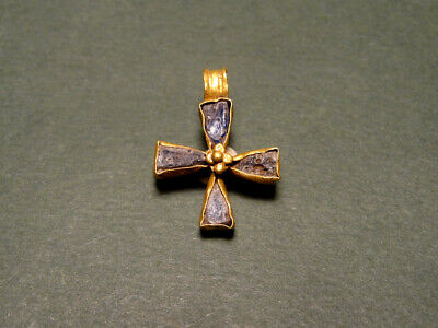 Byzantine Gold & Glass Cross Pendant 400-600 Ad