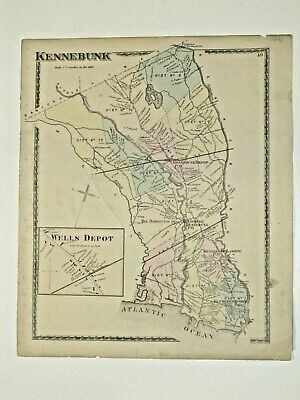 Kennebunk, Me., Vintage Hand Colored 1872 Map., Not A Reprint.