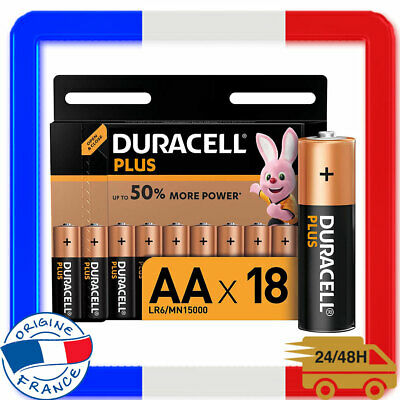 Lot de 18 Piles DURACELL Plus Jetables Alcalines Type AA 1,5 Volts Lr6 Mx1500