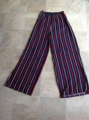 Girls Next Flared Trousers - Navy with white and red stripes (Age 14 years)