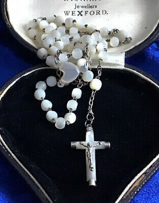 Beautiful French Antique Art Deco Real Silver & Mother Of Pearl Rosary