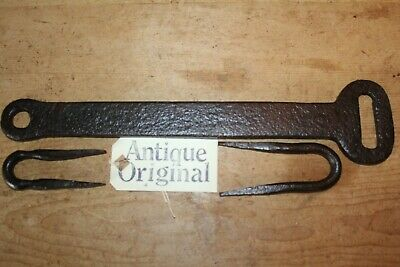 Original Antique Wrought Iron Hasp & Staple/Lock~Hand Forged~Long~16 Inch~