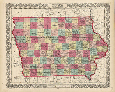 "1860 Colton's  ""IOWA""-original, ex-atlas, hand color"